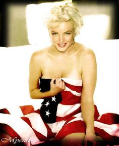 Marilyn Colour Enhanced - Patriotic ~ The Most Beautiful American Icon, with or without our flag.