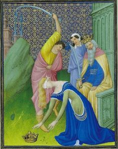 The Execution of St. Catherine, ca.1409, France,  Belles Heures of Jean de France, Duc de Berry - illuminated by brothers (Herman, Paul and Jean) Limbourg fol. 18r