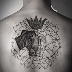 Geometric lion crown tattoo