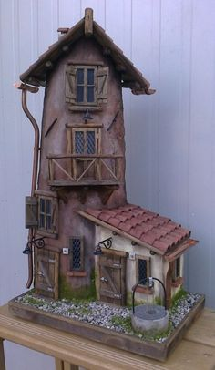 Best clay fairy house HD Wallpaper [] www. Clay Houses, Ceramic Houses, Miniature Houses, Clay Fairy House, Fairy Garden Houses, Paper Mache Projects, Polymer Clay Projects, How To Make Decorations, Clay Fairies