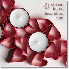 Make Valentine Table Decorations From Tea Candles  Colored Card
