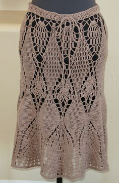 Mid-Length Cotton Crochet Skirt by ExclusivesbyRasa on Etsy