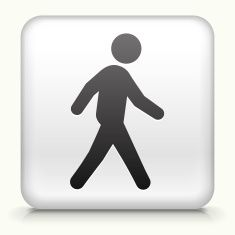 Square Button with Walking royalty free vector art vector art illustration