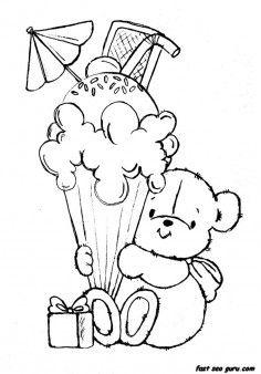 Printable teddy bear with birthday ice cream coloring pages - Printable Coloring… Ice Cream Coloring Pages, Cute Coloring Pages, Printable Coloring Pages, Adult Coloring Pages, Coloring Sheets, Coloring Pages For Kids, Coloring Books, Kids Coloring, Imagenes Free