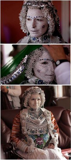 Kosovar - Brides in Donje Ljubinje, a tiny town in Kosovo, paint their faces in stunning patterns and embellish them with sequins for their wedding day. The makeup is said to ward off bad luck and has been a part of the wedding celebration since the town was founded. The bridal effect is finished off with colorful handmade clothing.