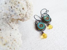 Translucent teal daisies, primitive czech glass dangle earrings, wire wrapped artisan jewelry, mottled drops, aqua green, from Cultivated Dreams & Designs