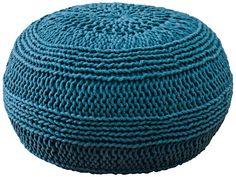 Teal Blue Roped Cotton Pouf Ottoman   LampsPlus.com