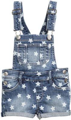 H&M - Denim Bib Overall Shorts - Denim blue/stars - Kids