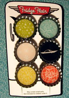 50's Retro Sign Bottle Cap Magnet Set  Great Gift by TwoDumbBroads, $7.00