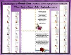 - 18 Different Mother's Day Verses with Different Beautiful Flowers in the left hand corner You will receive: 18 Gold F. Mothers Day Verses, Beautiful Flowers, 18th, Card Making, Cards, Maps, Handmade Cards, Playing Cards, Cards To Make