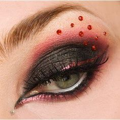 Eye shadow and eyeliner don't forget the glitter