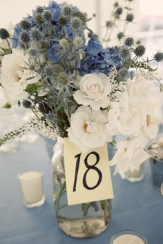 Pretty Blue Floral Wedding centerpiece - Photography by preftakesphoto.com/