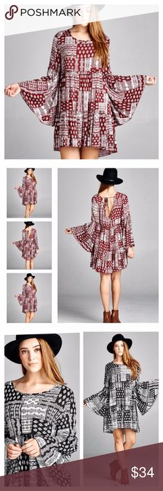 BOHO BELL SLEEVE DRESS OR TUNIC Round neck in front, v-neck in back with a tie and wide bell sleeves speak volumes of boho beauty! Pretty red wine and white floral patchwork pattern. Rayon/polyester blend. Measurements upon request. ALSO AVAILABLE IN BLACK IN A SEPARATE LISTING. tka2 Dresses Mini
