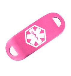 Pink Aluminum Medical ID Tag