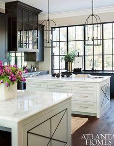 Two Kitchen Island with White Quartzite Countertops - Contemporary - Kitchen Black Kitchens, Cool Kitchens, Dream Kitchens, New Kitchen, Kitchen Decor, Kitchen Ideas, Kitchen White, Design Kitchen, Kitchen Modern