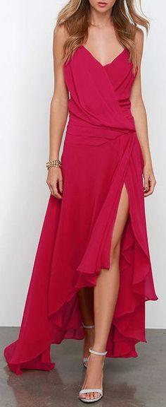 Flowy Side Slit Crimson Dress ❤︎