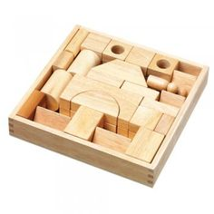 A set of natural wooden building blocks for young children. The imaginative shapes and figures will inspire open ended and creative play.