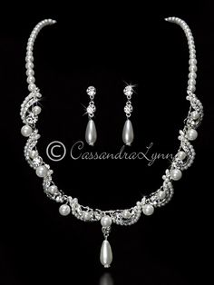 Wedding Jewelry Set of Rhinestones and a Twisted Pearl Design