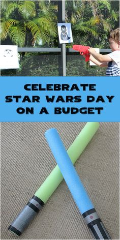 Celebrate Star Wars on a Budget by making lightsabers out of Dollar Tree pool noodles and printing your own Storm Troopers and Darth Vader target practice for blasters. www.eatdrinkandsavemoney.com