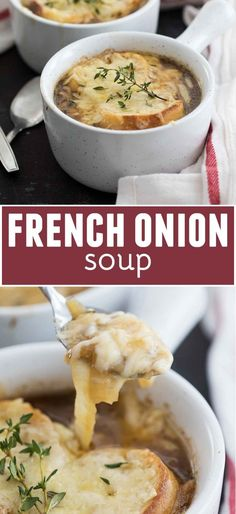 Homemade Easy French Onion Soup Recipe – Taste and Tell The secret is in the caramelized onions! This French Onion Soup Recipe will show you that making a restaurant worthy soup at home is easier than you thought! Onion Soup Recipes, Best Soup Recipes, Chili Recipes, Gourmet Recipes, Favorite Recipes, Healthy Recipes, Paula Deen, Comidas Fitness, Tandoori