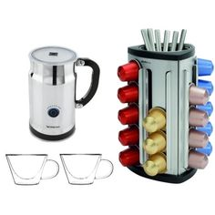 Nespresso Aeroccino Plus Milk Frother with 30 Capsule Carousel and 2 Luigi Bormioli 13 Ounce Cups - http://nespressoshop.net/nespresso-aeroccino-plus-milk-frother-with-30-capsule-carousel-and-2-luigi-bormioli-13-ounce-cups