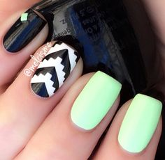 Neon tribal by Instagram user melcisme   #neon #mint #tribal #notd