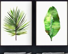 Banana leaf watercolor painting Tropical print by colorZen on Etsy
