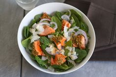 Spinach Salad With Spiced-Walnut Salmon And Cilantro-Mint Dressing | saltandwind.com