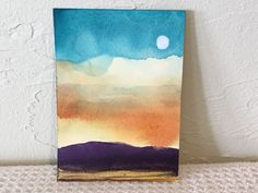 """From Pennsylvania Artist-Cat Lady, Patricia Bucko About the artist - Patricia Bucko. (ACeO's - Art Card Edition Originals). """"Mountain Landscape Dreams"""" - soft evening sunset above distant purple mountains. silvery full moon high above!   eBay!"""