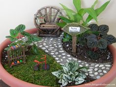 ~ Sweet and simple little fairy garden in a flower pot ~