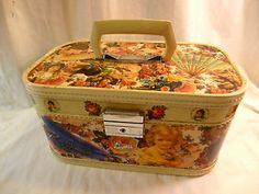 decoupage train case | Vintage Overnight Case Travel Train Makeup Decoupage 50 60s XLT Cond ...