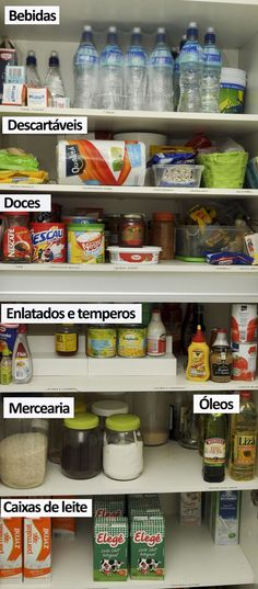 lar, ideias reflexões Decoration home decor Home Organisation, Pantry Organization, Pantry Ideas, Personal Organizer, Konmari, Kitchen Pantry, Home Hacks, Getting Organized, Housekeeping