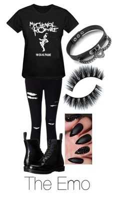 """""""The Clichés: The Emo"""" by the-annoying-fangirl ❤ liked on Polyvore featuring Miss Selfridge and Dr. Martens"""