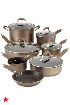 Add stylish performance to your gourmet kitchen with this 12-piece Anolon nonstick cookware set. Pick up this bronze beauty on macys.com today!