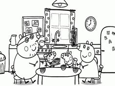 Peppa Pig And Her Family On The Dining Table Coloring Page