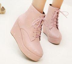 Pure Pink Bandage Wedge Heel Platform Ankle Boots