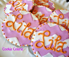 Chevron Print Monogram Decorated Sugar Cookies Birthday Party Baby Shower Wedding Shower Favors. $18.50, via Etsy.