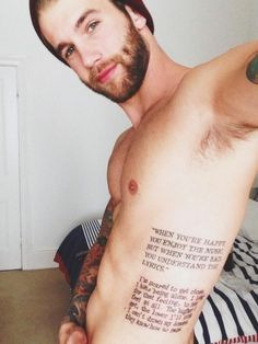 """Mens Quote #Tattoo """"When You're Happy You Enjoy The Music, But When You're Sad You Understand The Lyrics"""" #Tattoos"""