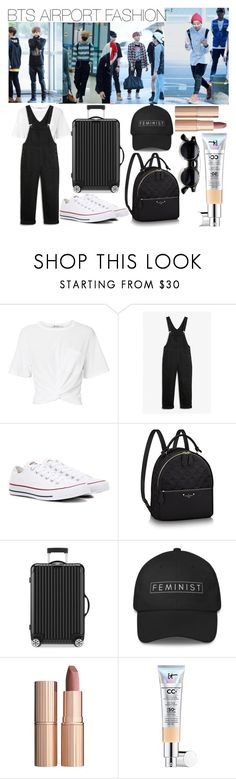 """""""Bts"""" by lauralydix ❤ liked on Polyvore featuring T By Alexander Wang, Monki, Converse, Rimowa, Charlotte Tilbury and It Cosmetics"""