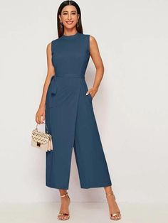 Mock Neck Self Tie Wrap Culotte Jumpsuit Check out this Mock Neck Self Tie Wrap Culotte Jumpsuit on Shein and explore more to meet your fashion needs! Women Ties, 98, Jumpsuits For Women, Mock Neck, Dresses For Work, Work Outfits, Fashion Outfits, Clothes, Style