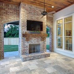 Top 60 Best Patio Fireplace Ideas – Backyard Living Space Designs Covered Brick Patio Fireplace With Wood Ceiling Outdoor Fireplace Patio, Outside Fireplace, Porch Fireplace, Outdoor Fireplace Designs, Backyard Fireplace, Fireplace Ideas, Outdoor Fireplaces, Outdoor Rooms, Outdoor Living