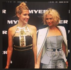 heidi & sj at the myer aw13 show. sj is wearing the 'this is pop' cape available in stores and online x