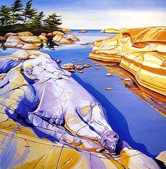Margarethe Vanderpas - Fine Artist - Fox Islands, North Shore of Georgian Bay Landscape Illustration, Watercolor Landscape, Abstract Landscape, Watercolour, Seascape Paintings, Landscape Paintings, Polychromos, Impressionist Art, Canadian Artists