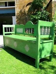 Pretty Antique Pine Pea Green Box Bench