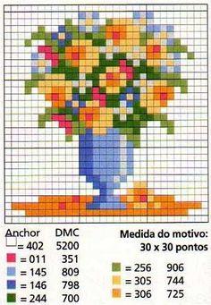 miniature cross stitch chart blue vase of flowers Mini Cross Stitch, Cross Stitch Cards, Cross Stitch Flowers, Cross Stitching, Cross Stitch Embroidery, Cross Stitch Designs, Cross Stitch Patterns, Beading Patterns, Embroidery Patterns