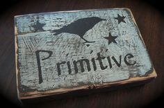Primitive Painted Blocks | PRIMITIVE CROW BLOCK sign for shelf or wall Folk by tinkerscottage