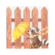 #Posters #Metal #Art - #racoon with umbrella walking by fence metal print