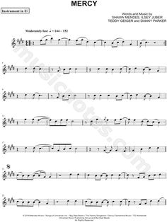 Print and download Mercy - Eb Instrument sheet music by Shawn Mendes arranged for Alto Saxophone or Baritone Saxophone. Instrumental Part, and Instrumental Solo in C# Minor.