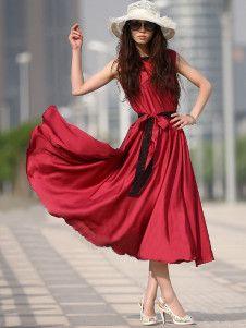 Burgundy Pleated Lace Chiffon Womens Summer Dress