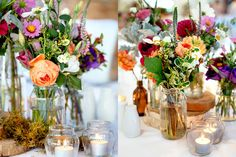 Bright jars and logs for tables. created by flower jar.